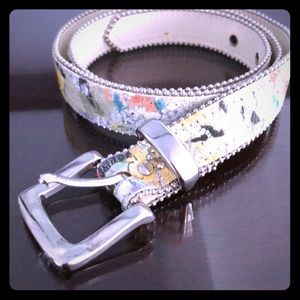 Accessories - Sparkly Silver Tone Abstract Multi Color Belt S